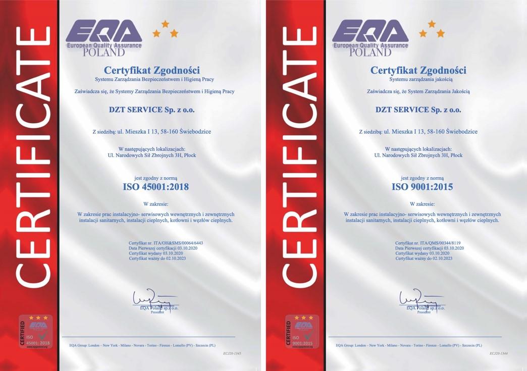 certyfikaty EQA 2020